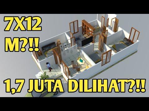 Desain Rumah Minimalis Ukuran 7x12 Meter  denah rumah 7x12 3 kamar tidur youtube