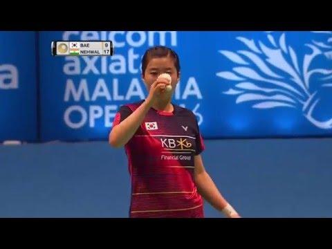 Celcom Axiata Malaysia Open 2016   Badminton R16 M4-WS   Bae Yeon Ju vs Saina Nehwal
