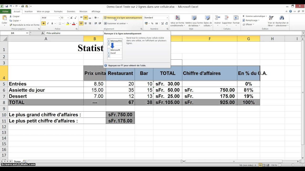 Tutoriel Excel Texte Sur 2 Lignes Dans Une Cellule Youtube