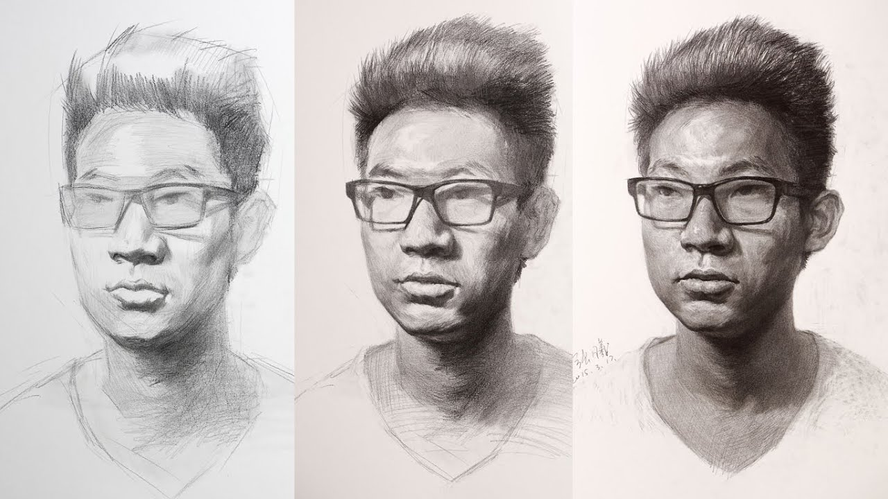 Portrait Drawing in Process - YouTube