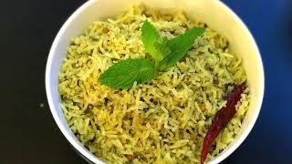 Mint Rice | Pudina Rice | Quick Lunch Box Recipe | no onion no garlic recipe | Pudina/ Mint Rice