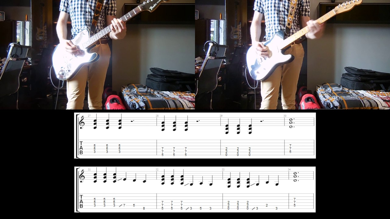 foo fighters run guitar cover with tabs for 2 guitars