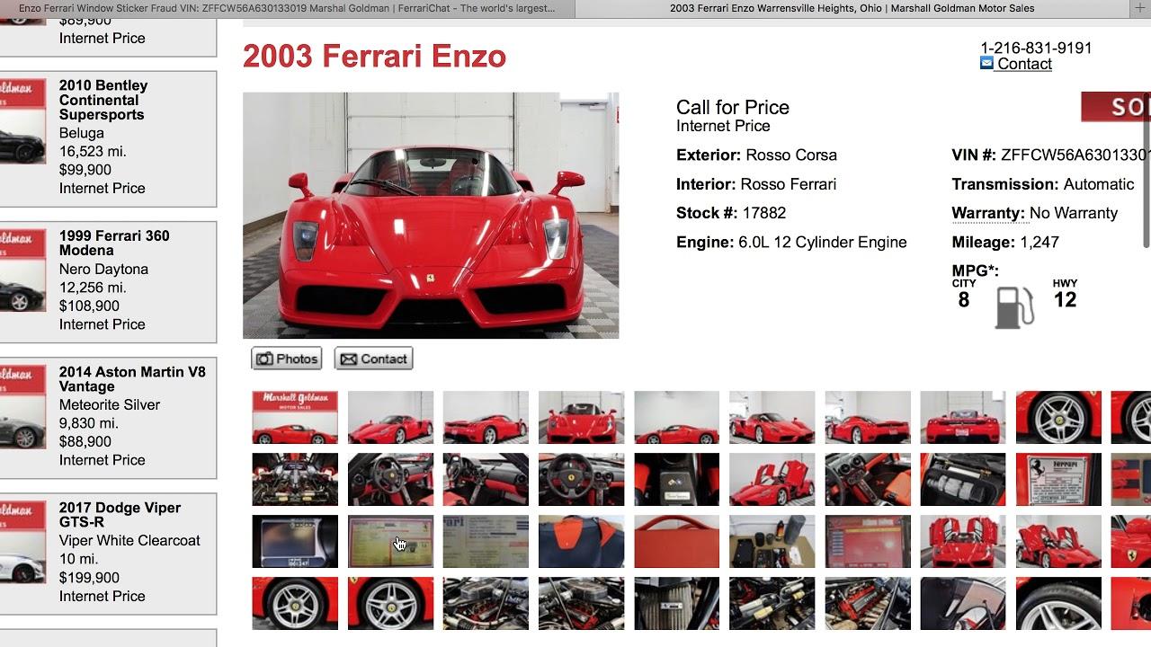 ENZO FERRARI ENZO WINDOW STICKER FRAUD VIN #: ZFFCW56A630133019 ...