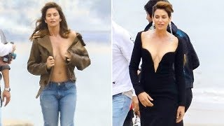 EXCLUSIVE - Cindy Crawford Hits The Beach For A Sexy Dolce & Gabbana Shoot