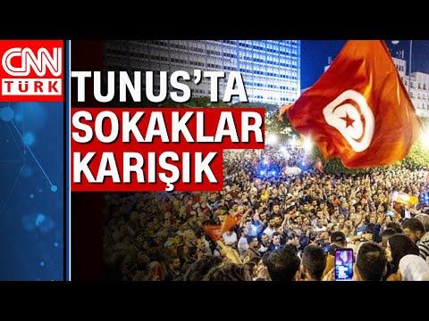 Tunus'ta sokağa çıkma yasağı! Bir yanda kutlama, diğer yanda karışıklık!