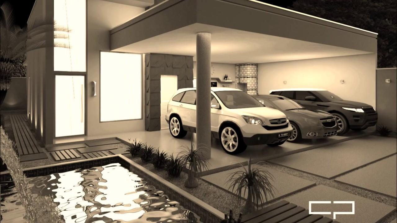 Projeto casa terrea moderna terreno 10x25 3 suites 3 vagas for Casa moderna l