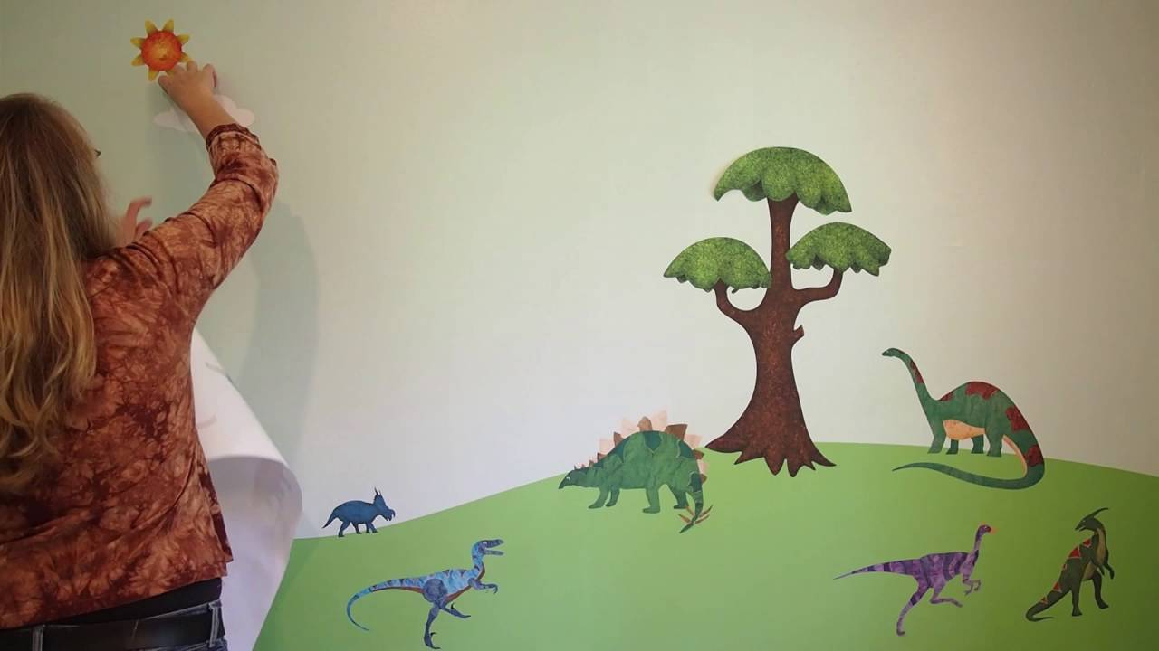 Decorating a kids room dinosaur decals youtube for Dinosaur kids room decor