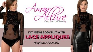 DIY MESH BODYSUIT WITH LACE APPLIQUES