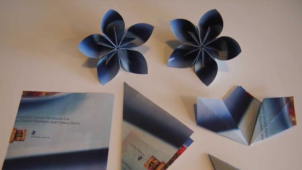 Origami Kusudama Flowers 003 Using Recycled Paper Youtube