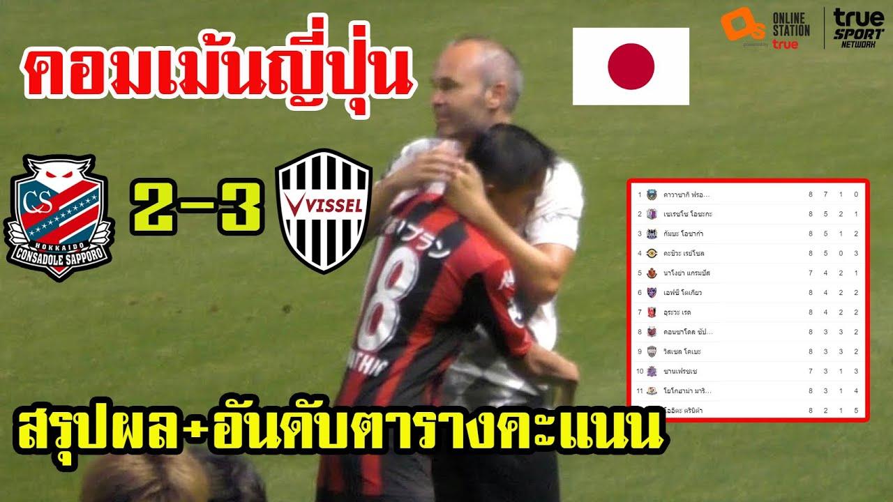 คอมเม้นแฟนบอลญี่ปุ่น ซัปโปโรเปิดบ้านแพ้โกเบ 2-3 พร้อมสรุปอันดับตารางคะแนน