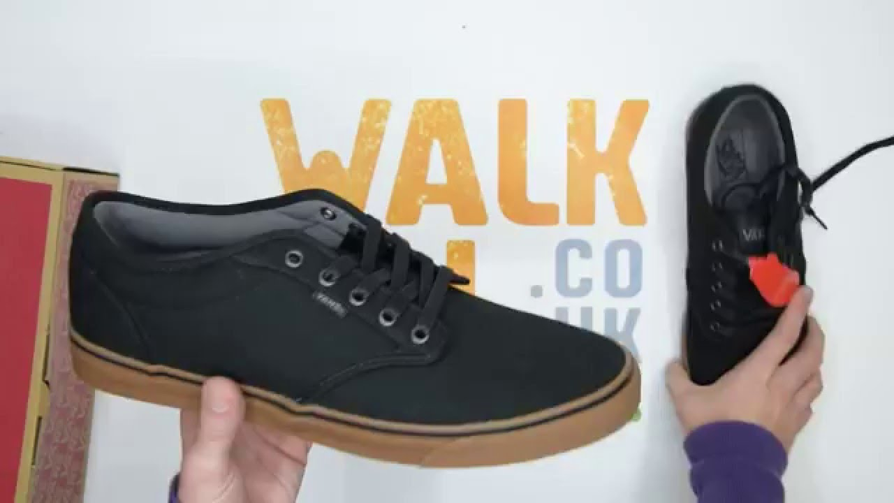 fa7fe09169b Vans Atwood 12oz Canvas - Black   Gum - Walktall