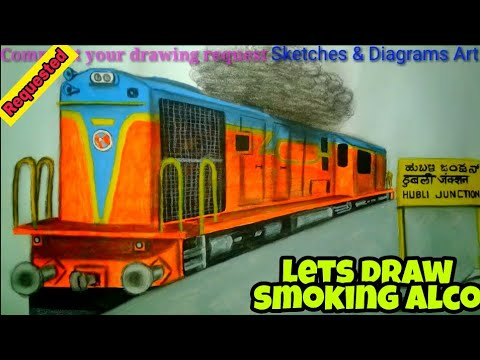 Lets Draw Smoking Alco WDM3D At Hubli Junction INDIAN RAILWAYS