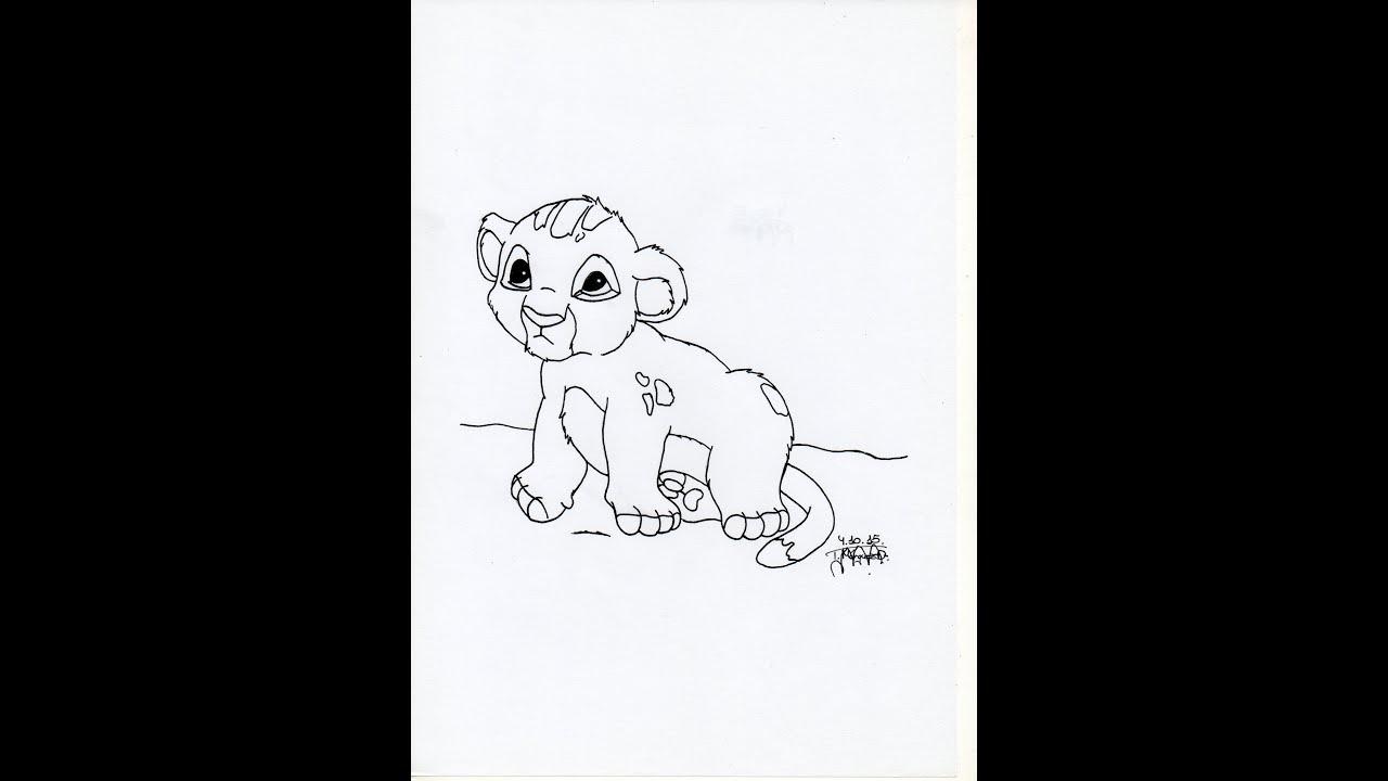 Cómo dibujar a Simba bebé - How to draw Simba baby - YouTube