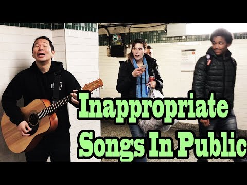 SINGING INAPPROPRIATE SONGS in the NYC SUBWAY SINGING IN PUBLIC