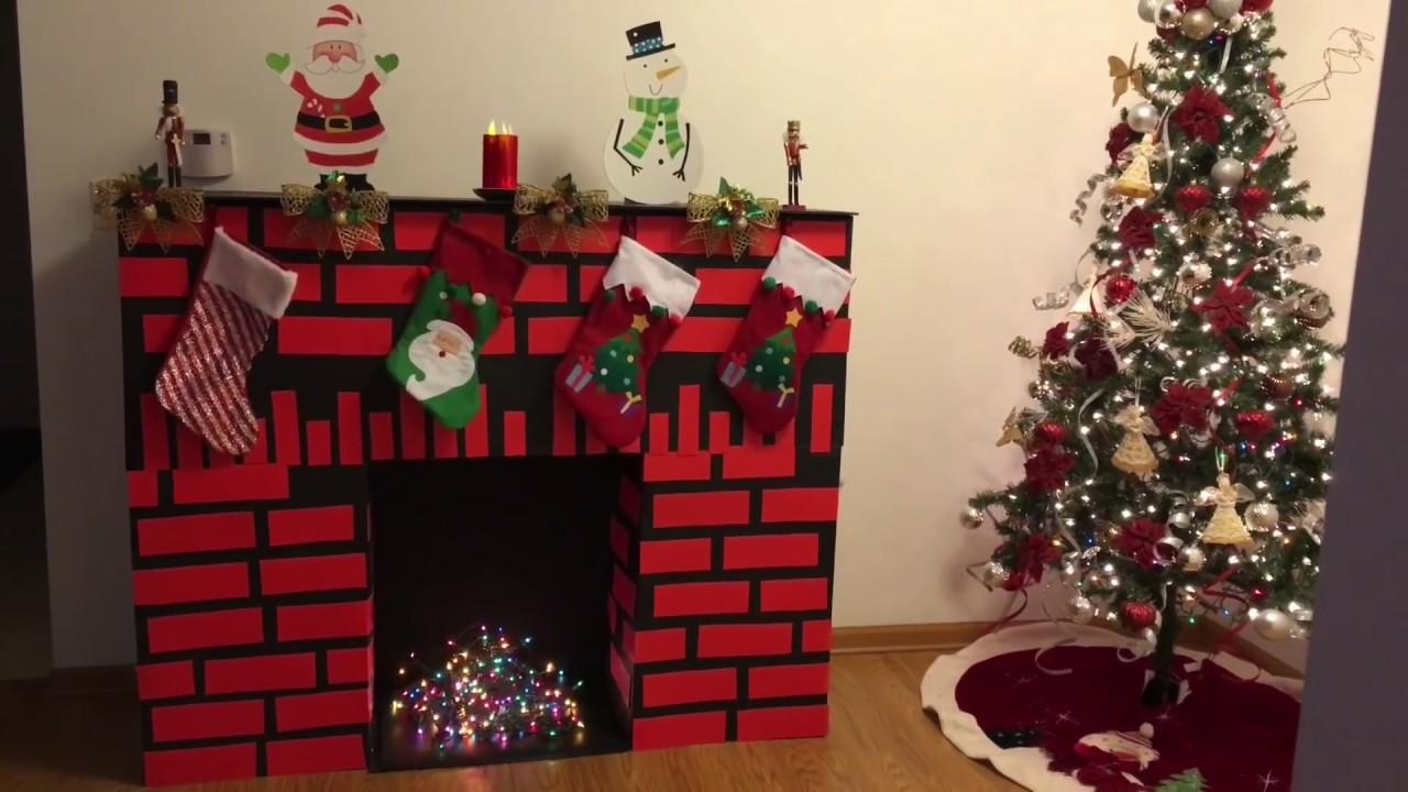 C mo hacer una chimenea de cart n diy chimenea de cart n for Cosas decorativas para navidad