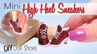 vuclip Doll/Barbie Shoe Tutorial; Miniature High Heel Sneakers // DIY Dolls/Dollhouse