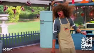 Perri Kiely dancing on The Great Celebrity Bake Off for SU2C