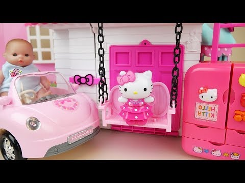Hello kitty swing house Baby doll kitchen and car toys Baby Doli play