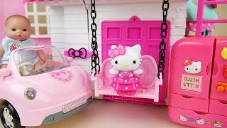 Hello kitty swing house Baby doll kitchen and car toys Baby Doli play thumbnail