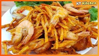 BÁNH TÔM CỔ NGƯ - Cách Pha Bột Chiên Giòn Rụm - Để Lâu Vẫn Giòn - Shrimp & Sweet Potato Fritter
