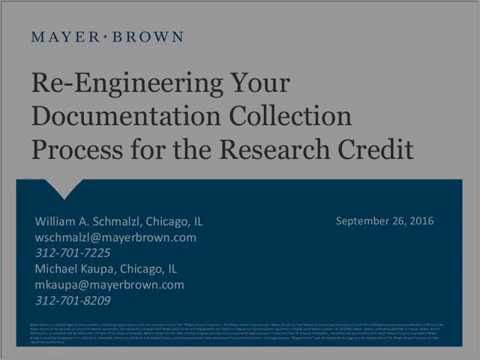 Re-engineering Your Documentation Collection Process for the Research Credit