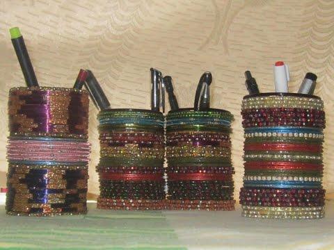 recycle old bangles - bangle pen holder