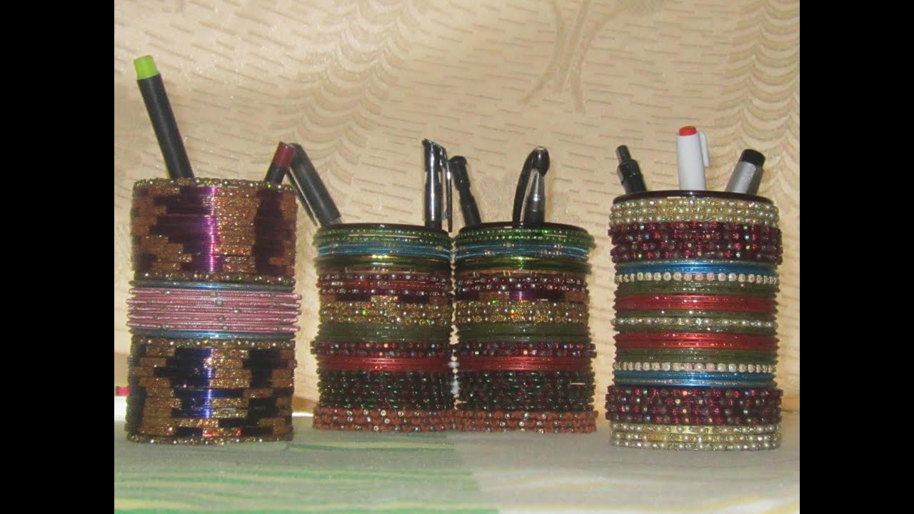 Image result for how to make pen stand from waste bangles hd