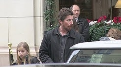 Christian Bale with wife and daughter at the Bristol hotel in Paris