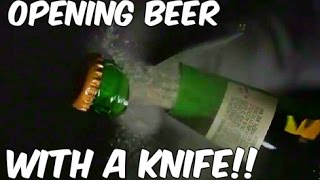 Cutting Beer Open with a Knife!! Awesome! | Slow Mo Lab