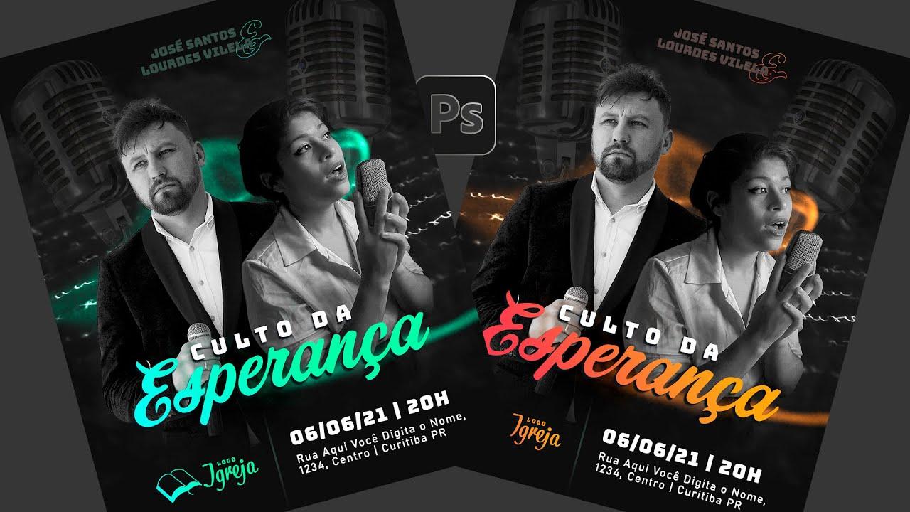 Design para Social Media no Photoshop   Post Evangélico: culto, encontro de jovens, show gospel