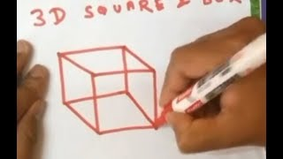 How to Draw Easy 3D Box with Lines -  cube 3D Trick for Kids 2018