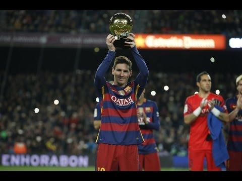 Messi celebró en el Camp Nou su quinto Balón de Oro