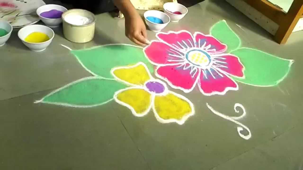 Very Easy N Nice Flower Design Of Rangoli Youtube