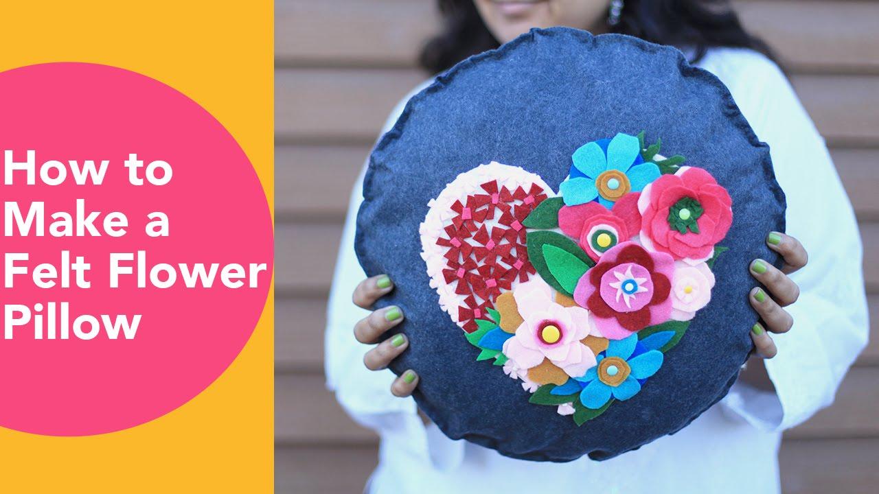 How to make a Felt Flower Pillow, No Sew Cushion, DIY Felt ...