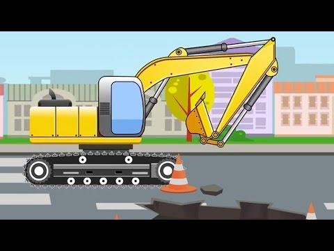 Kinderfilm deutsch - Die Bagger   Lernen und bauen - Der Zeichentrickfilm für Kinder