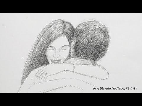 Cómo dibujar un abrazo - Tarjeta para el dia del amor y la amistad