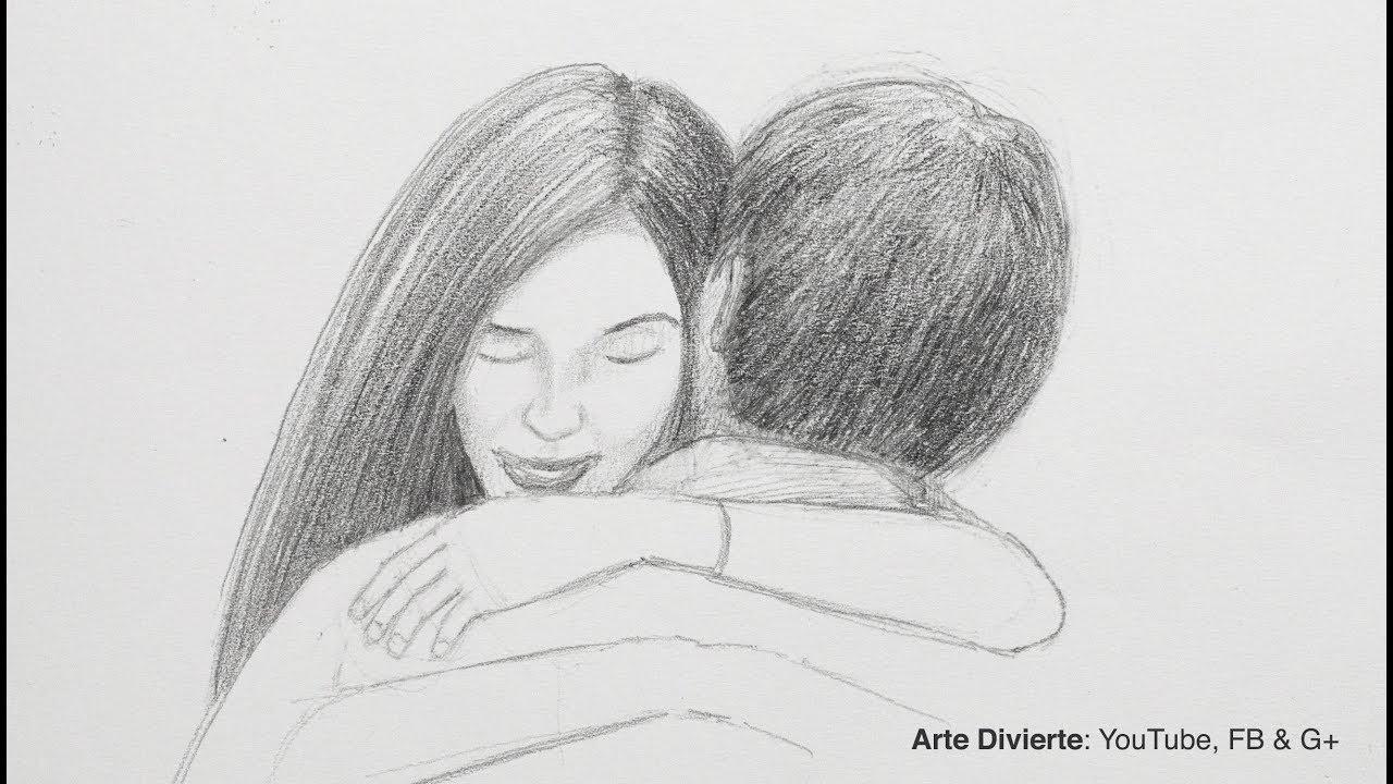 Cómo Dibujar Un Abrazo Tarjeta Para El Dia Del Amor Y La Amistad
