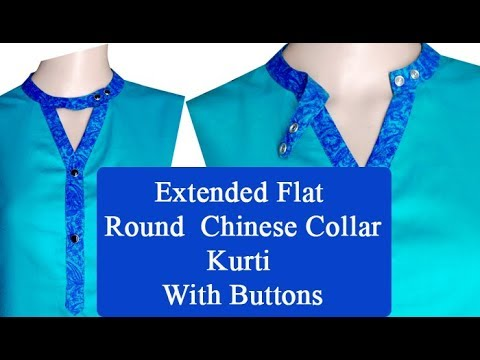 kurti collar neck design-chinese cutting and stitching, easy DIY Hindi tutorial for beginners