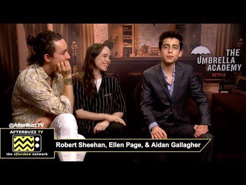 "Robert Sheehan ""Klaus"", Ellen Page ""Vanya"", Aidan Gallagher ""Five"" Netflix's The Umbrella Academy"