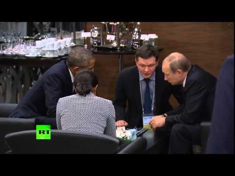 Владимир Путин и Барак Обама общаются в кулуарах саммита G20