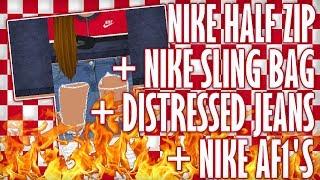 [ROBLOX SPEED DESIGN] Nike Half Zip + Nike Sling Bag + Distressed Jeans + AF1's
