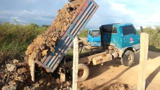 Filling the road in rural area in Cambodia, truck, ឡាន​ចាក់​ដី