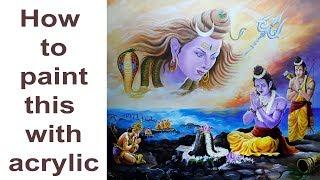 how to paint Lord Shiva with Ram  Lakshman  hnuman creating Lanka bridge acrylic painting tutorial
