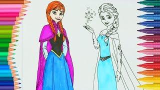 Frozen Anna ve Elsa boyama   Boyamalar   Boyama kitabı   Rainbow boyama videoları   Boyama Sayfası