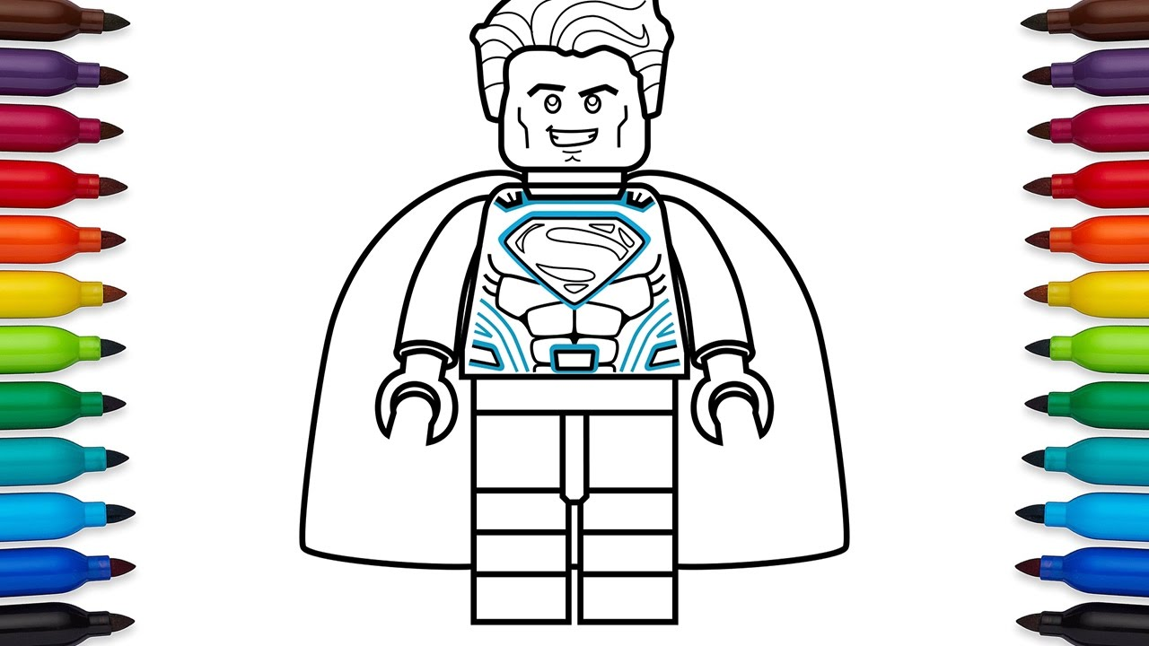 How to draw Lego Superman coloring