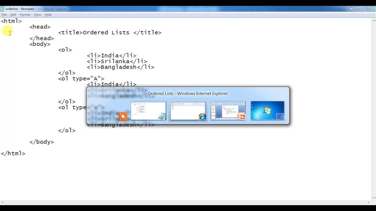 HTML Lists || Ordered List Program - YouTube