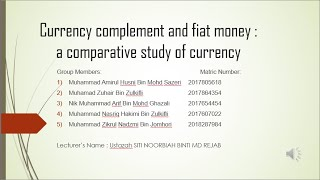 Currency complement and fiat money  a comparative study of currency
