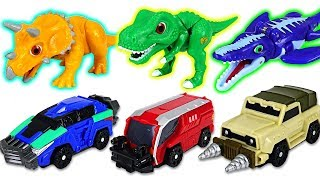 connectYoutube - Dino Mecard Tiny dinosaurs and capture car appeared! Triceratops, Tyrannosaurus - DuDuPopTOY