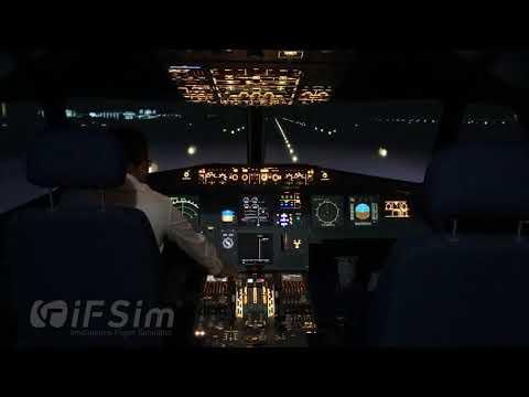 iFSim A320 Flight Simulator Night take off at Guangzhou Baiyun Airport