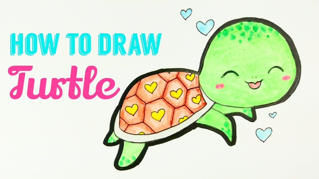 How To Draw Turtle Easy Cute Turtle Drawing Tutorial For